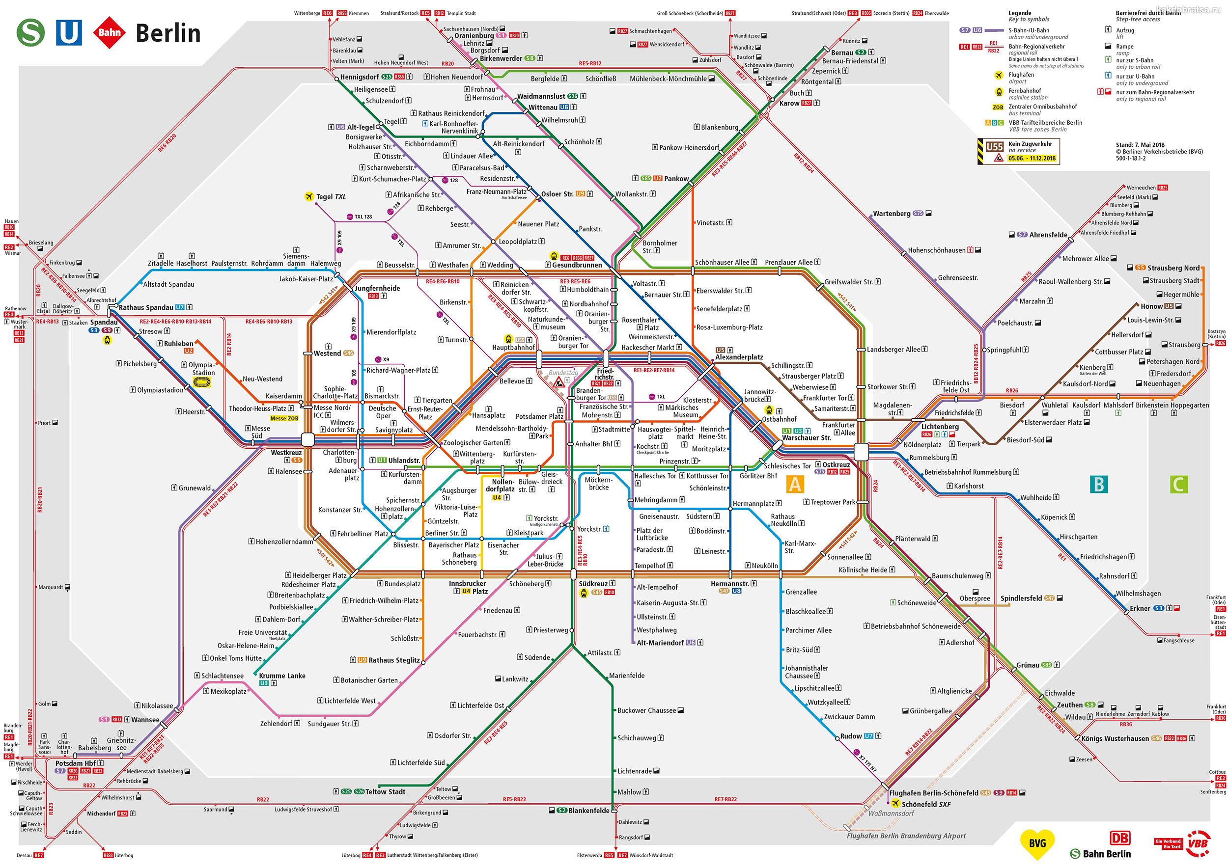 Берлин карта метро и электричек