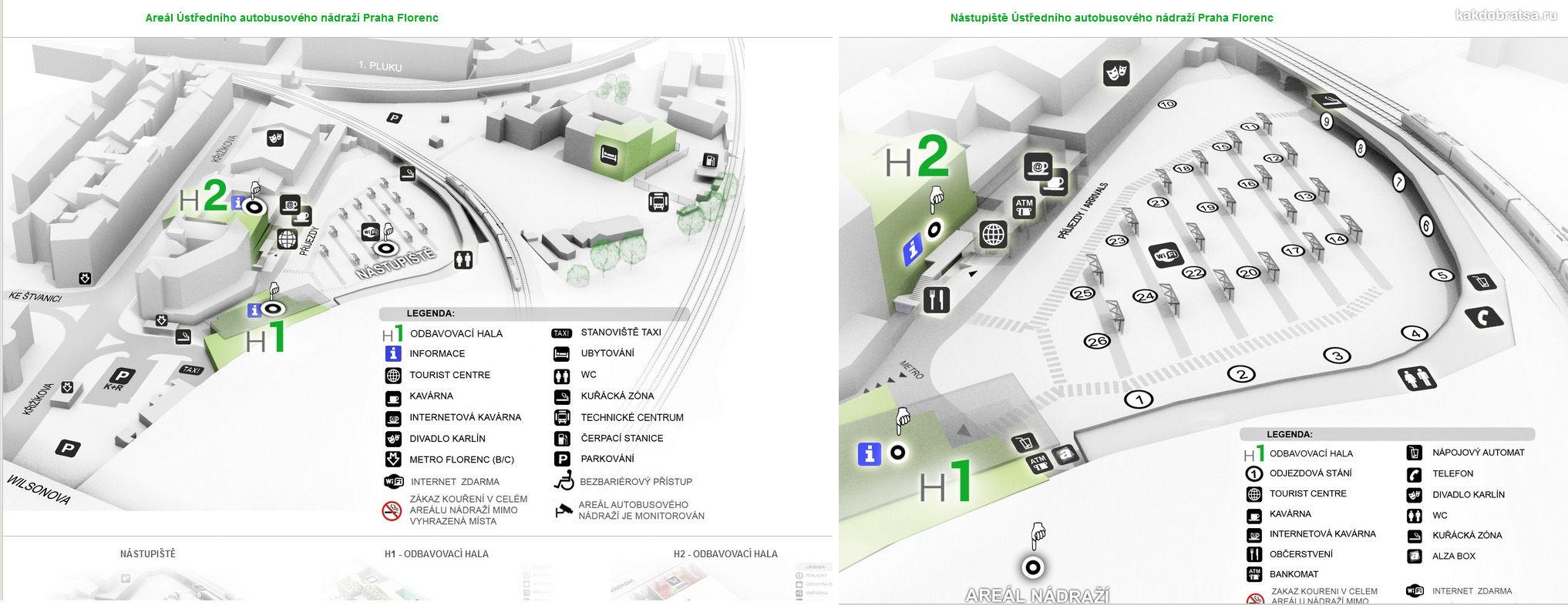Карта центральный главный автовокзал Флоренс Прага