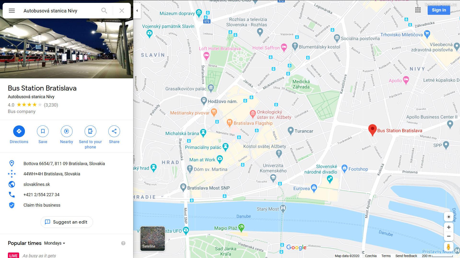 Автовокзал Братиславы Млинске Нивы на карте