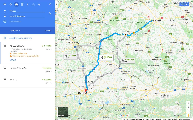Как добраться из Праги в Мюнхен на автомобиле, время в пути