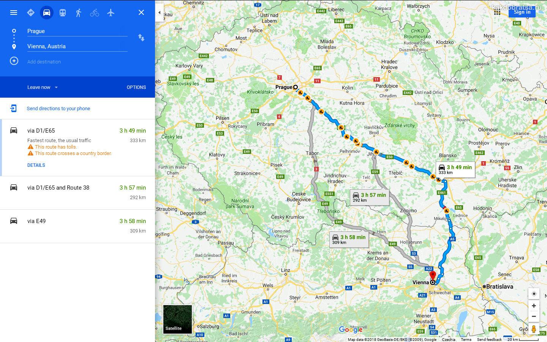 Как добраться из Праги в Вену на автомобиле, время в пути