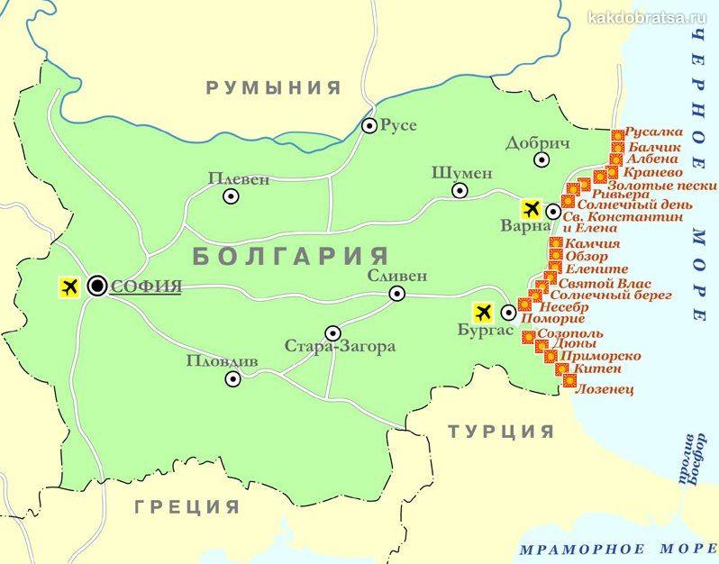 Карта городов курортов Болгарии