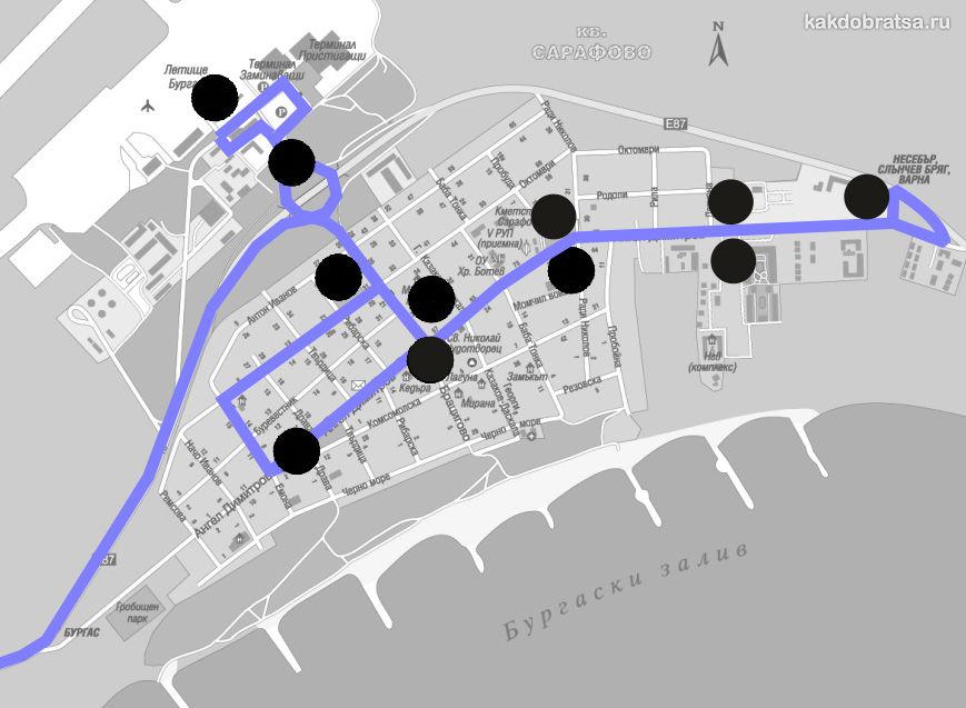 Карта аэропорта Бургаса