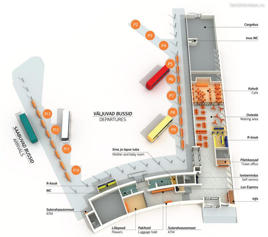 Автовокзал Таллина схема карта