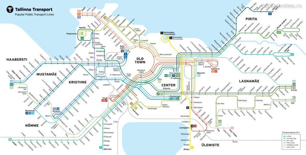 Карта схема трамваев Таллина