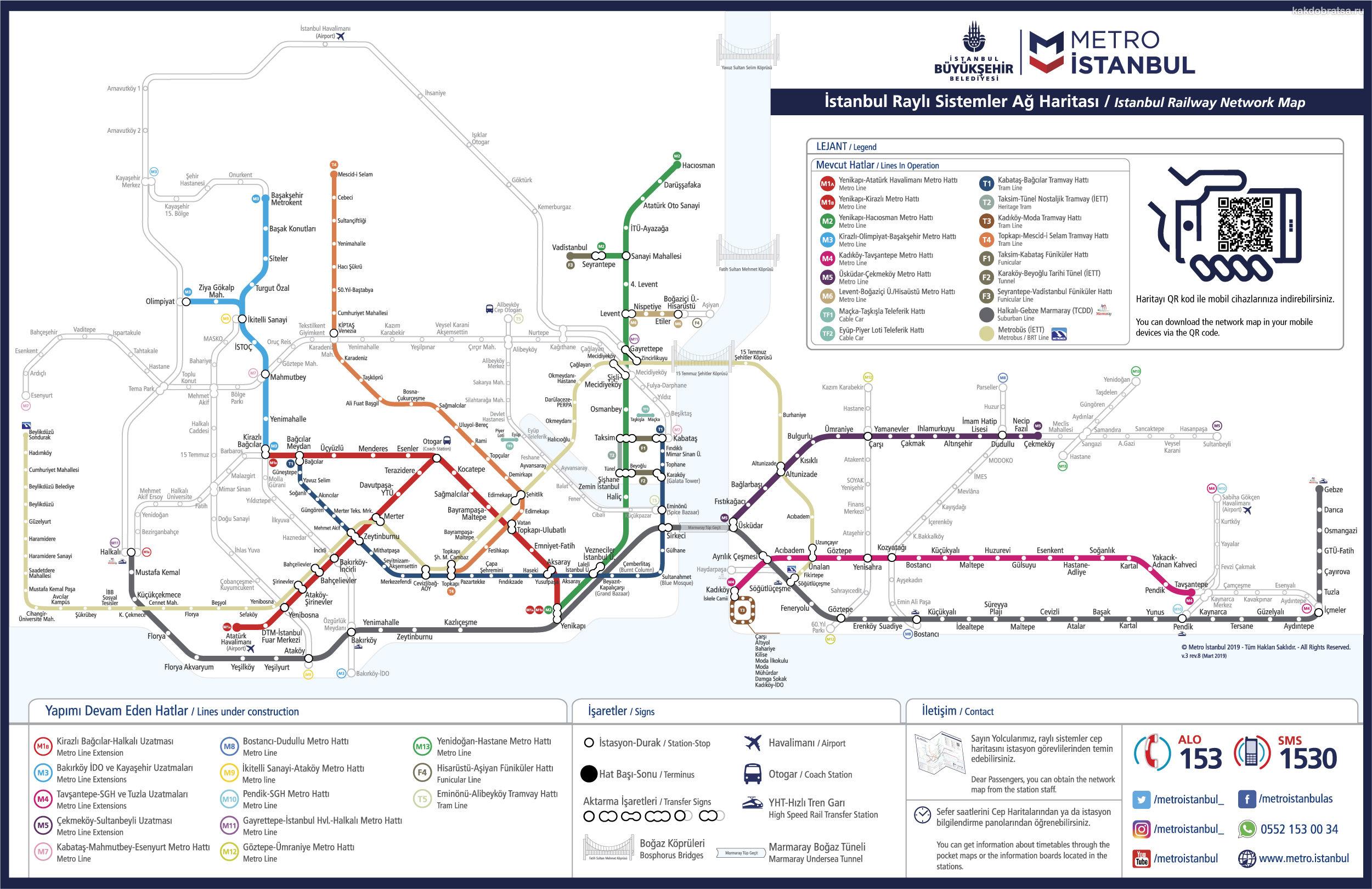 Карта схема метро Стамбула 2019 года