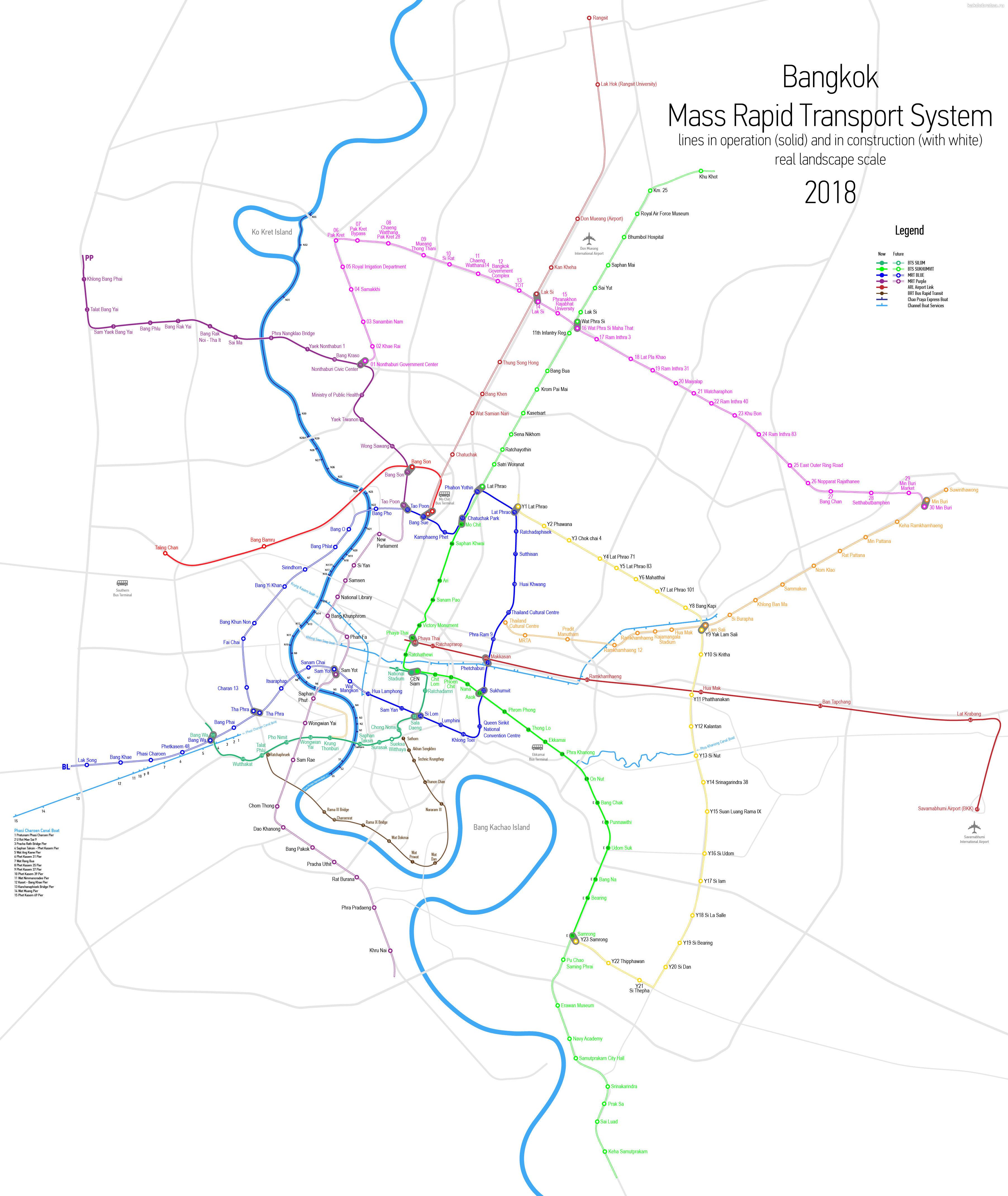Наземное подземное метро Бангкока карта схема