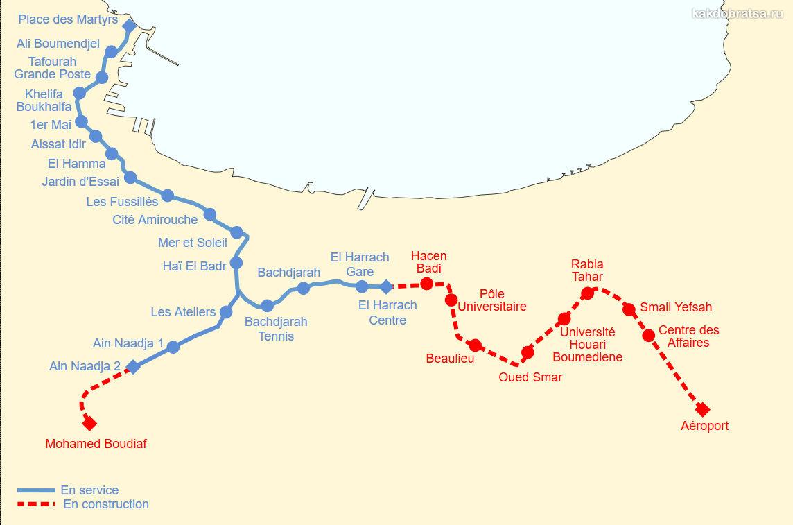 Карта схема метро Алжира