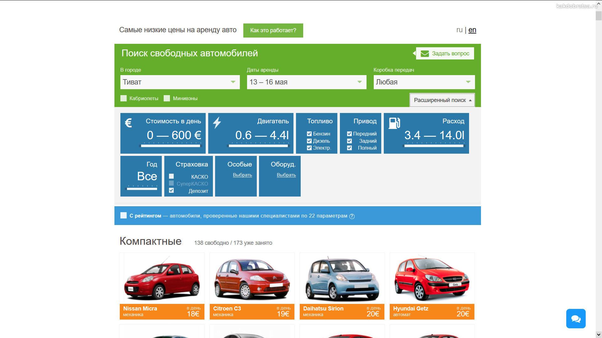Аренда авто в Черногории недорого