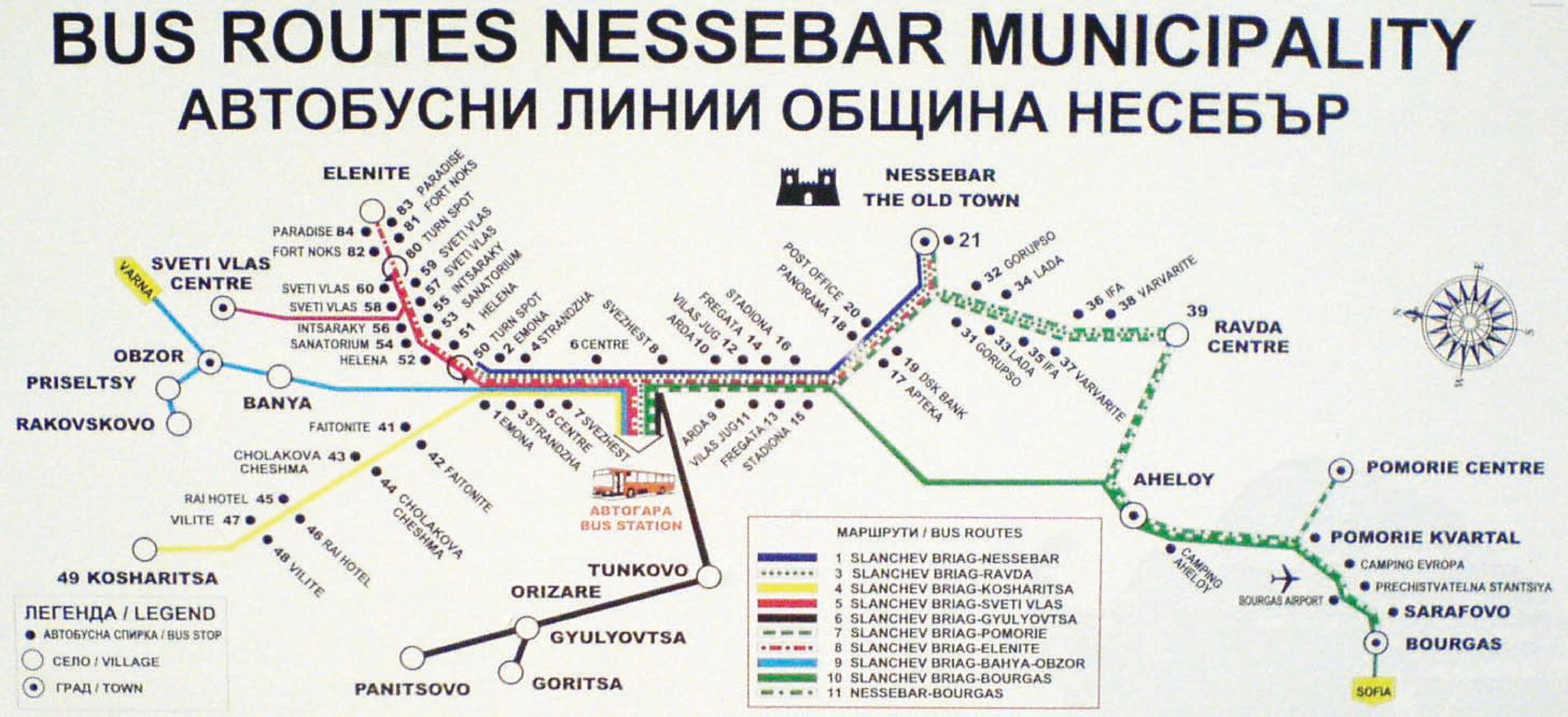 Карта автобусных маршрутов общины Несебр и Солнечный Берег