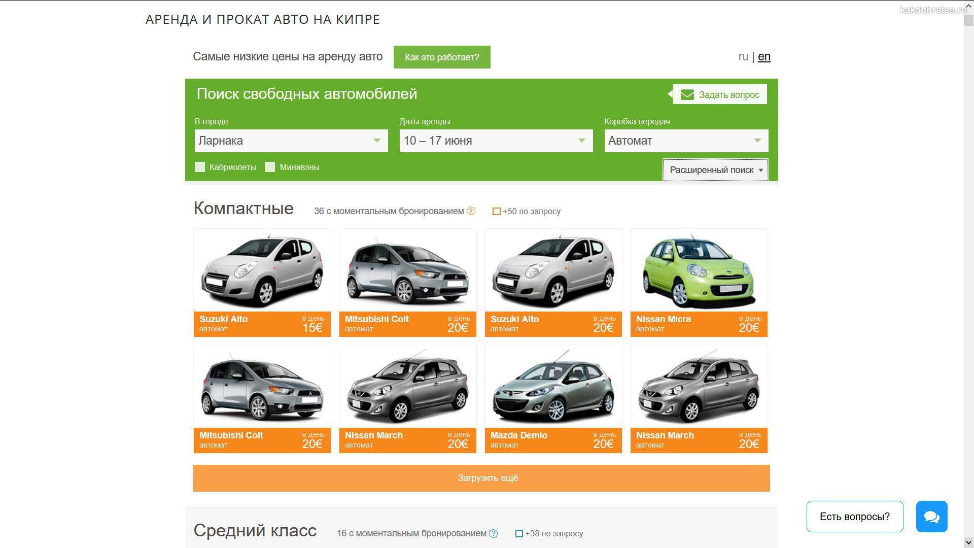 Недорогая аренда авто на Кипре без залога