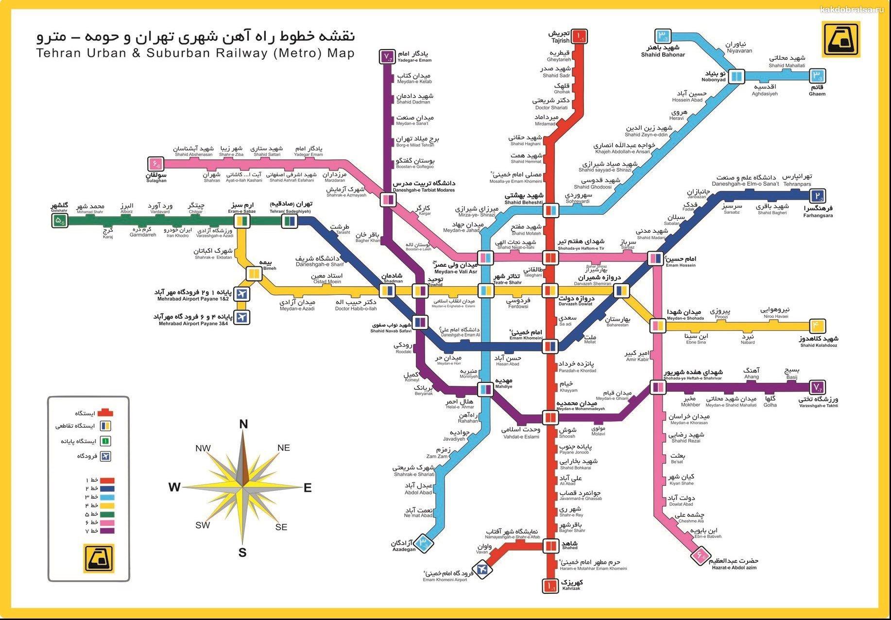 Карта метро Тегерана
