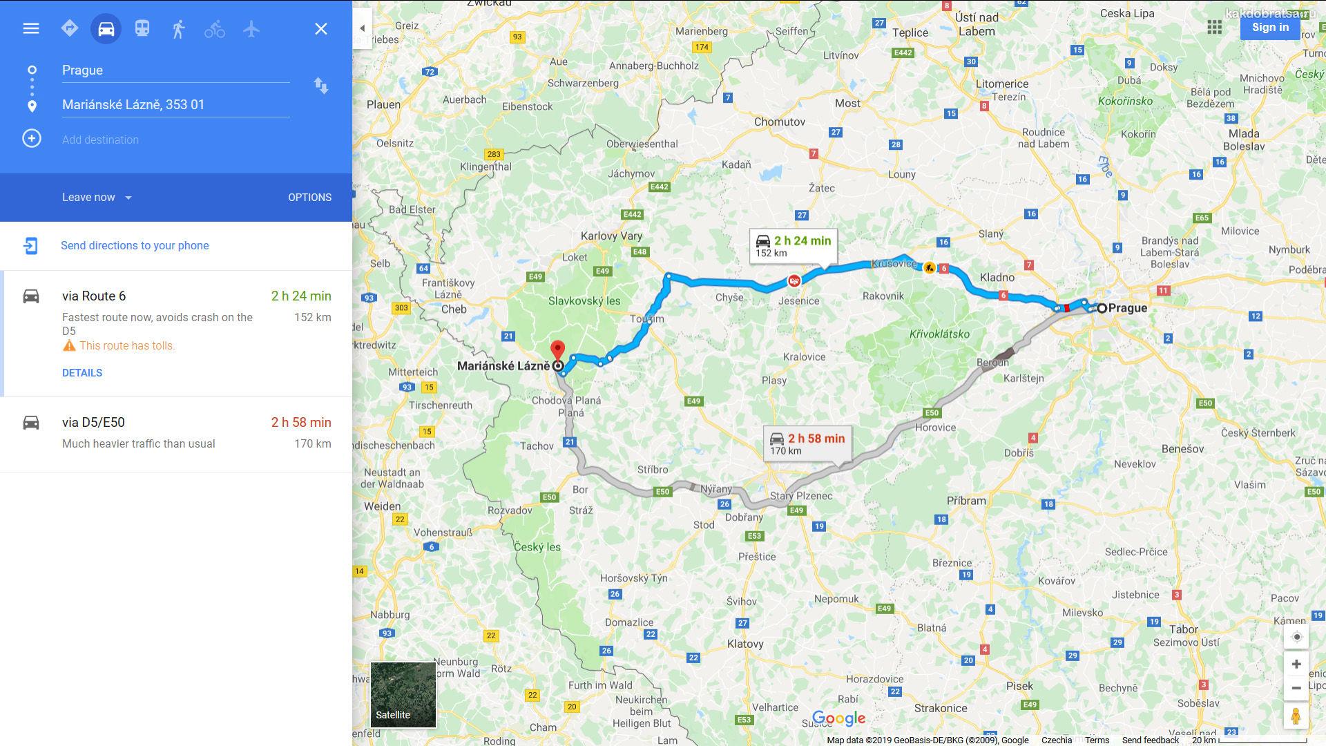 Как добраться из Праги в Марианские Лазне на автобусе или автомобиле
