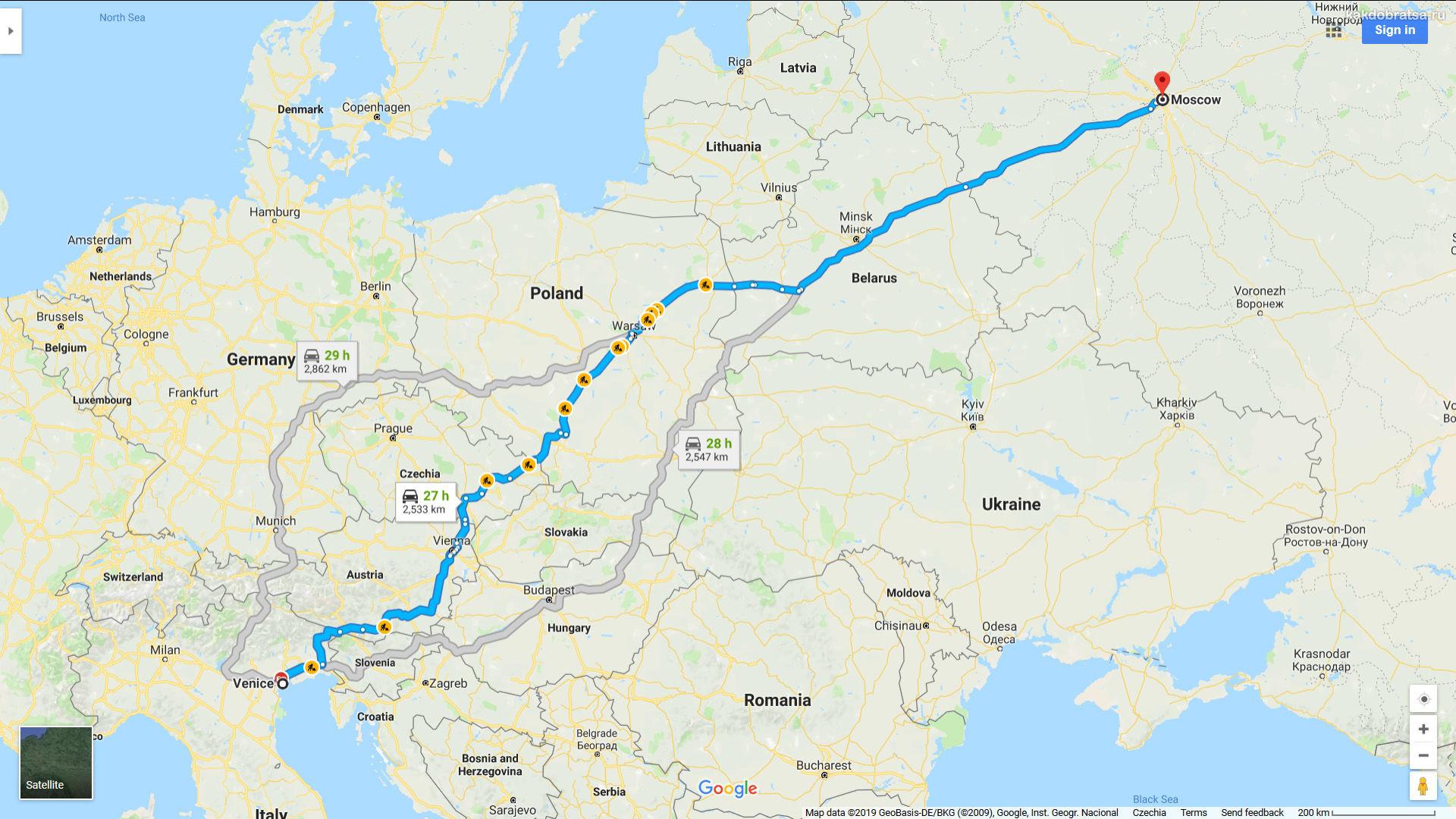 Как добраться до Италии из Москвы на автомобиле