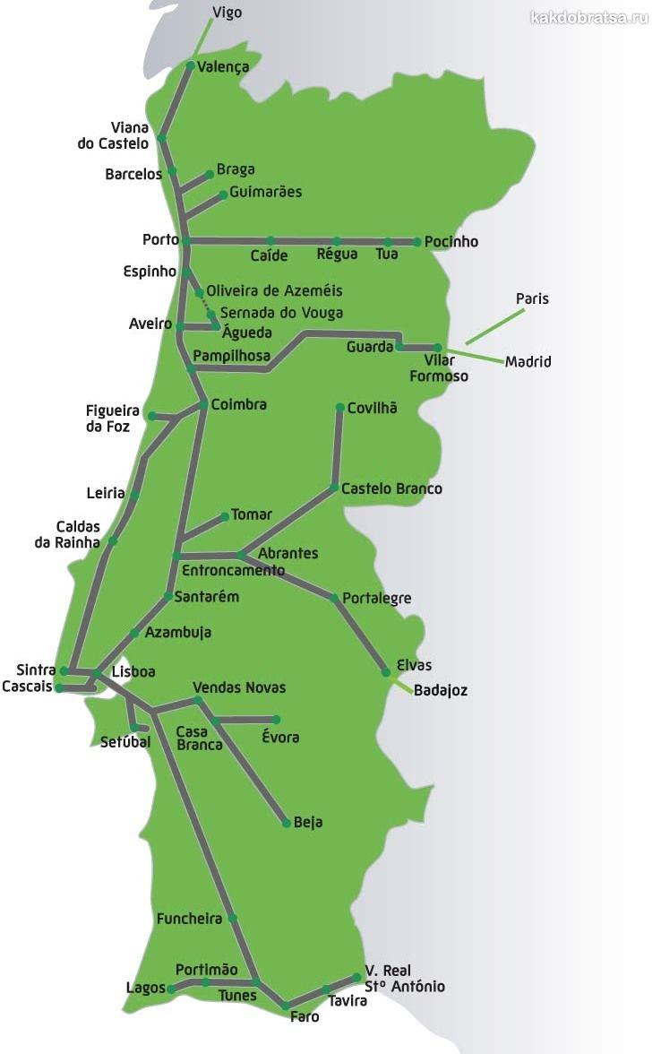 Карта железных дорог и поездов Португалии