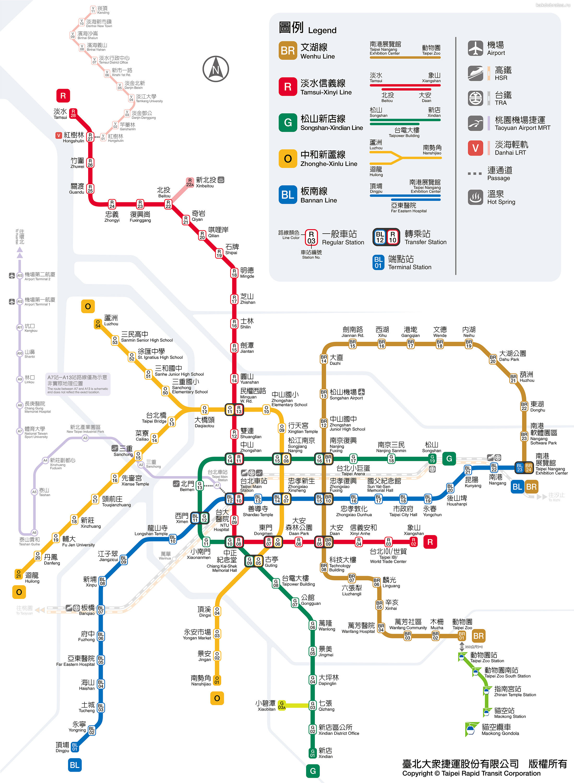 Карта метро Тайбэй, Тайвань