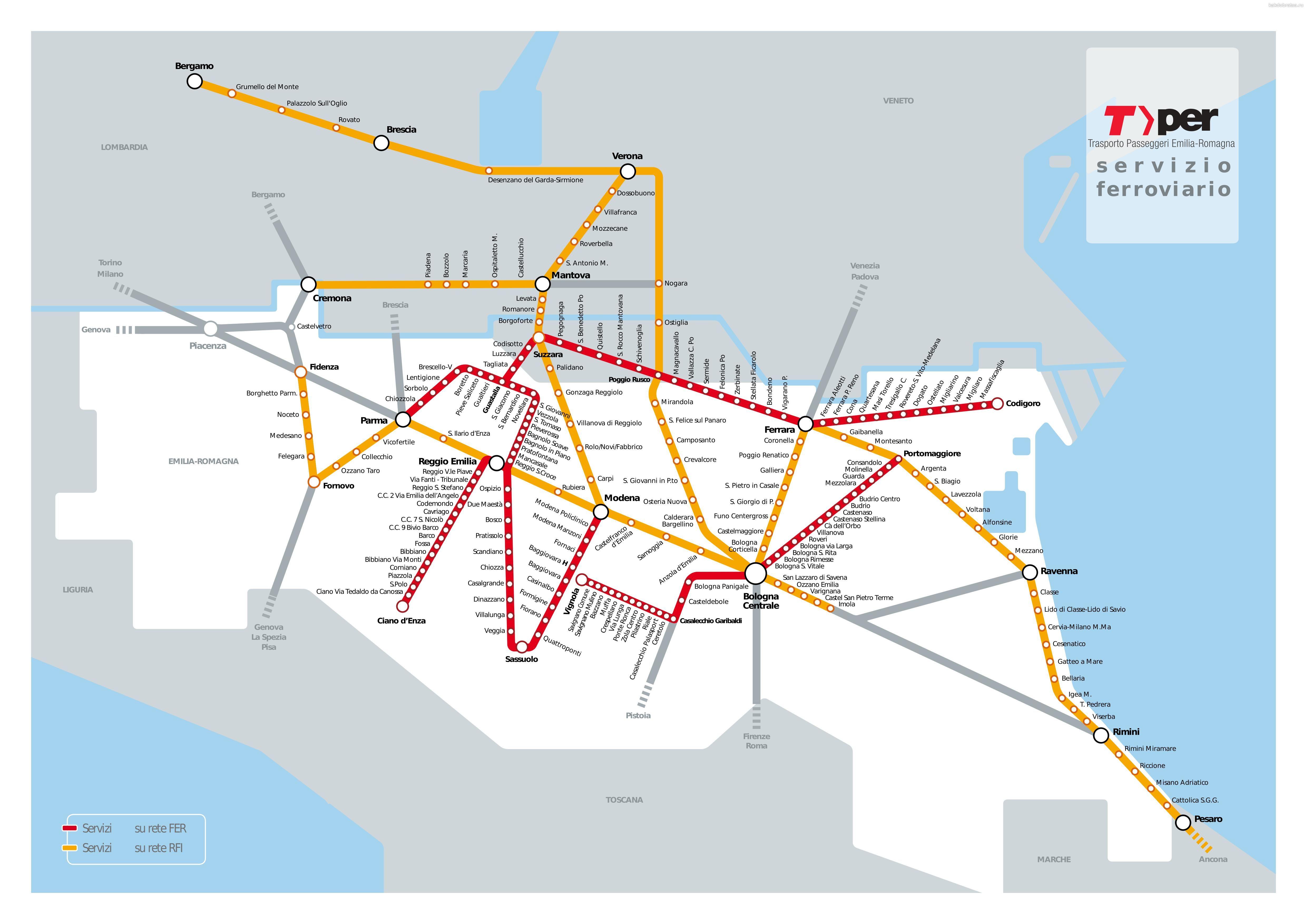 Карта поездов и электричек из Болоньи и Эмилия-Романья