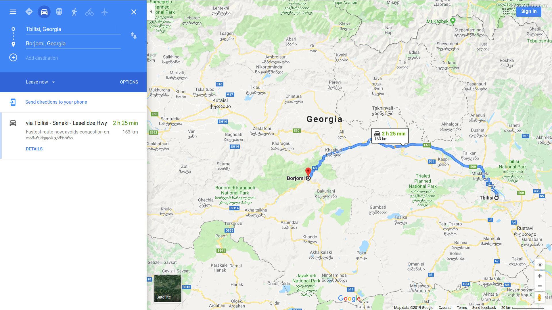 Из Тбилиси в Боржоми карта, расстояние и время в пути