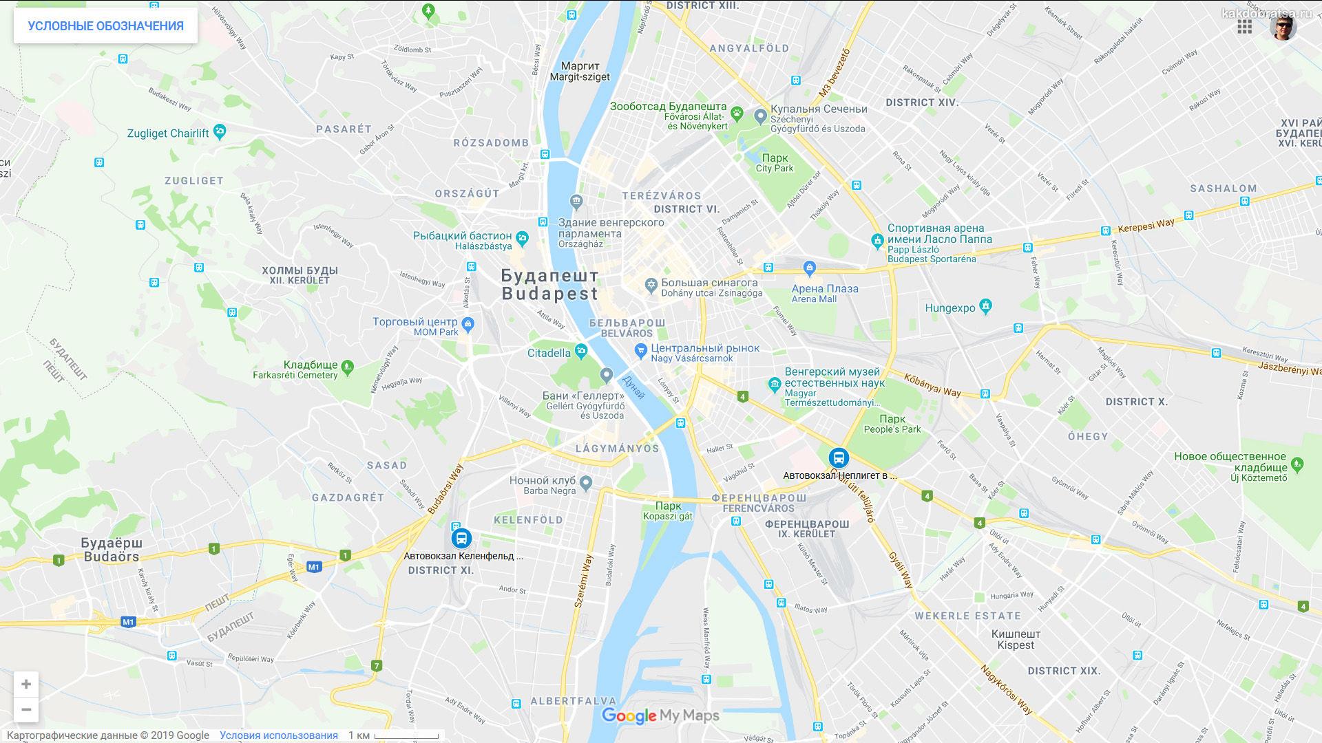 Автовокзалы Будапешта Неплигет и Келенфельд где находятся на карте