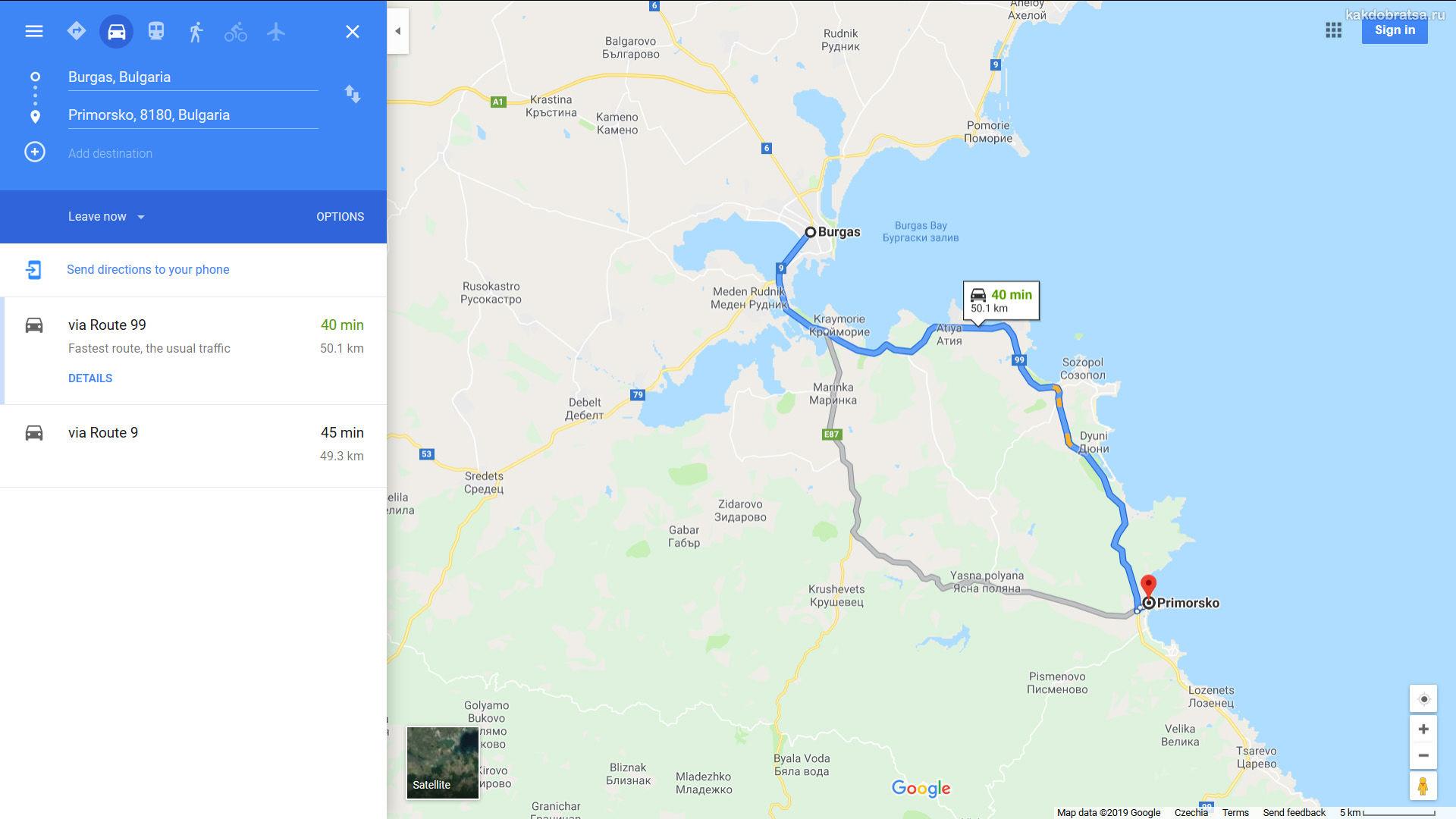 Из Бургаса в Приморско время в пути карта
