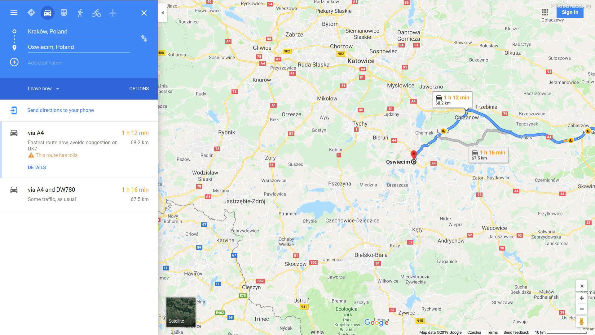 Как самостоятельно добраться из Кракова в Освенцим карта