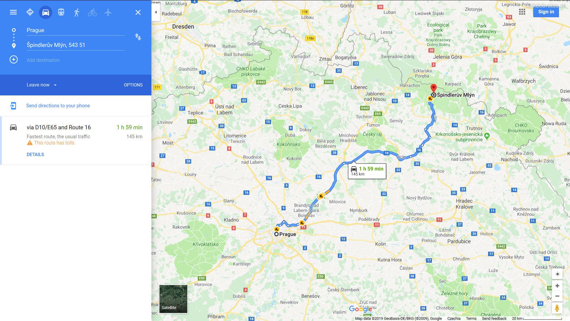 Из Праги в Шпиндлерув Млын карта время в пути