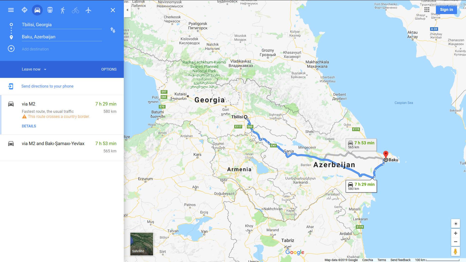 Как добраться из Тбилиси в Баку карта и время в пути