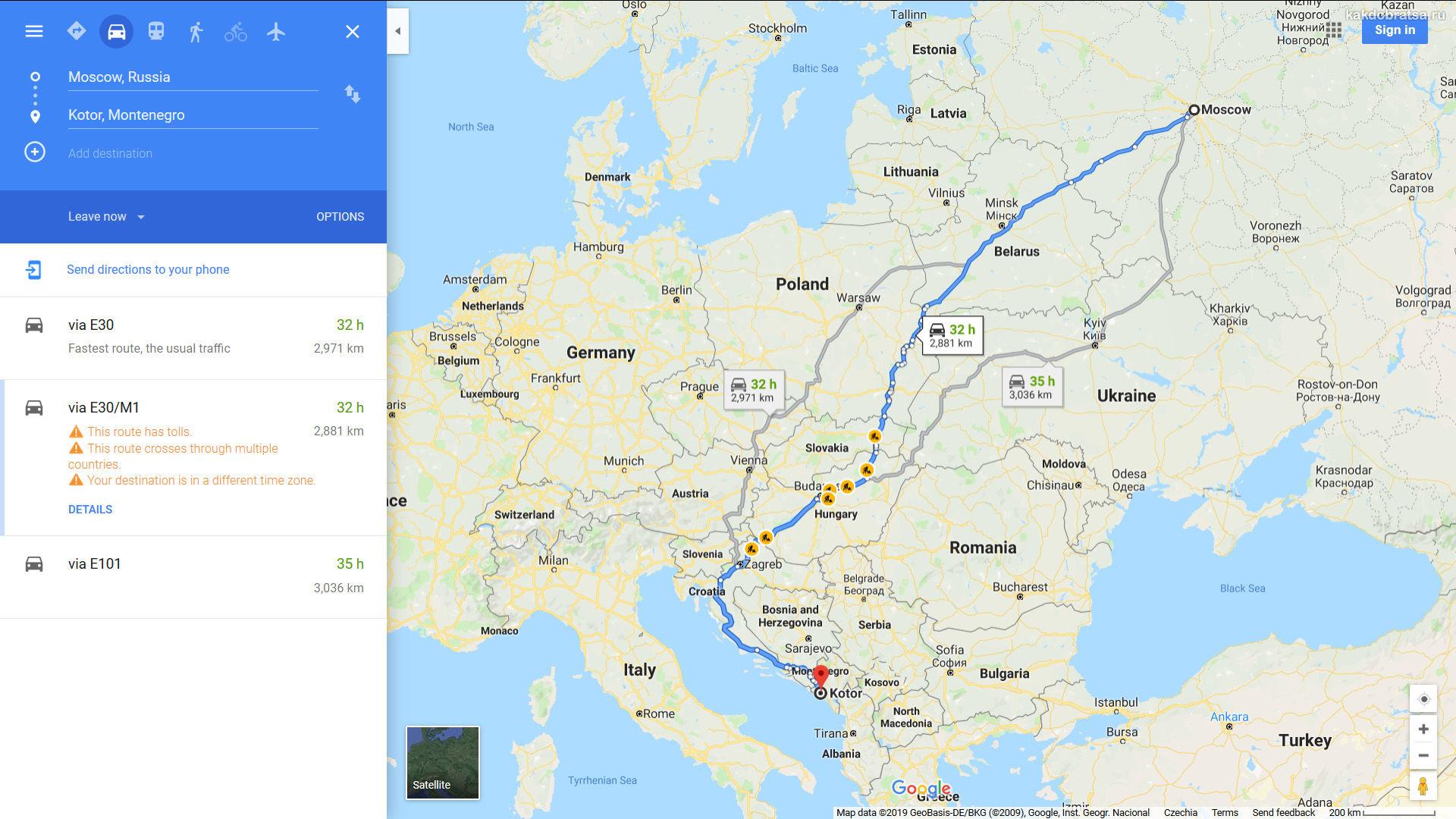 Как добраться из Москвы в Черногорию на авто карта