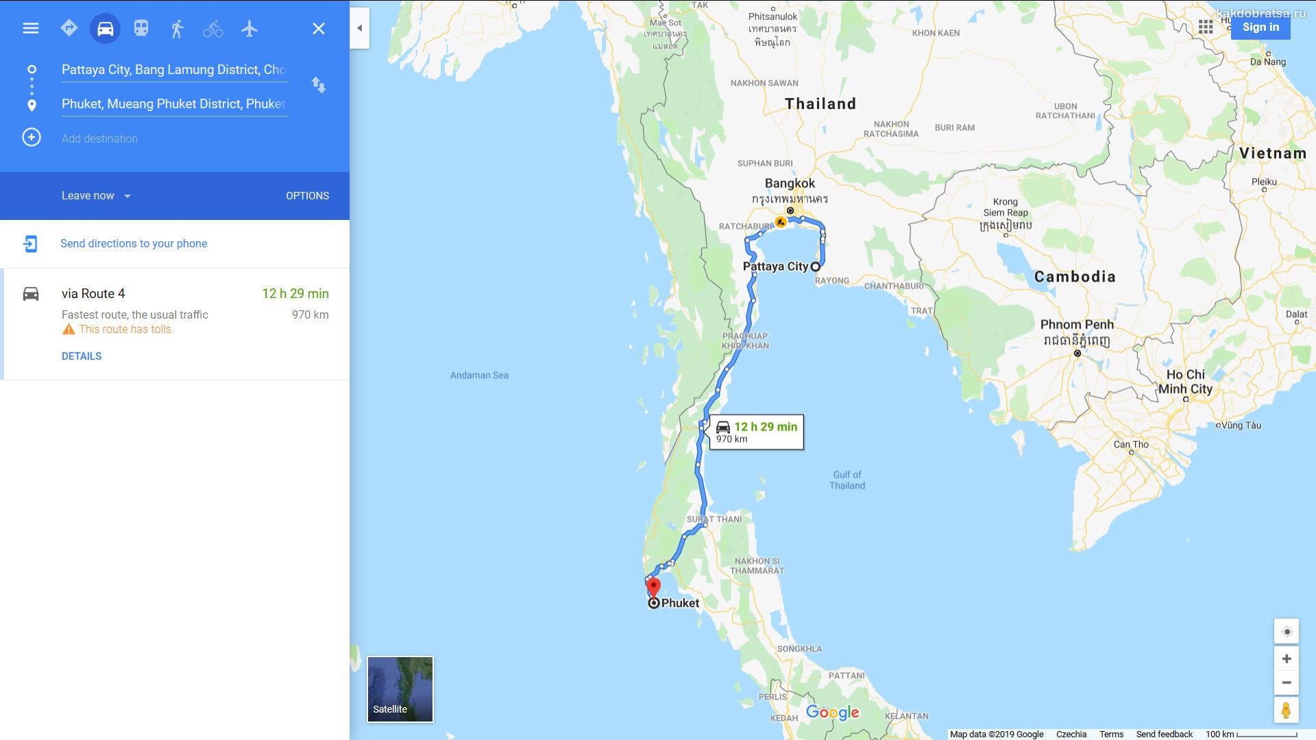 Как добраться из Паттайи до Пхукета карта время в пути