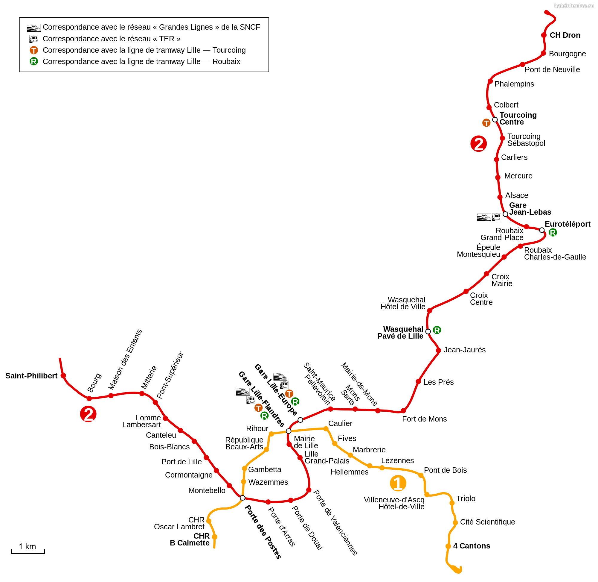 Карта-схема метро в городе Лилль
