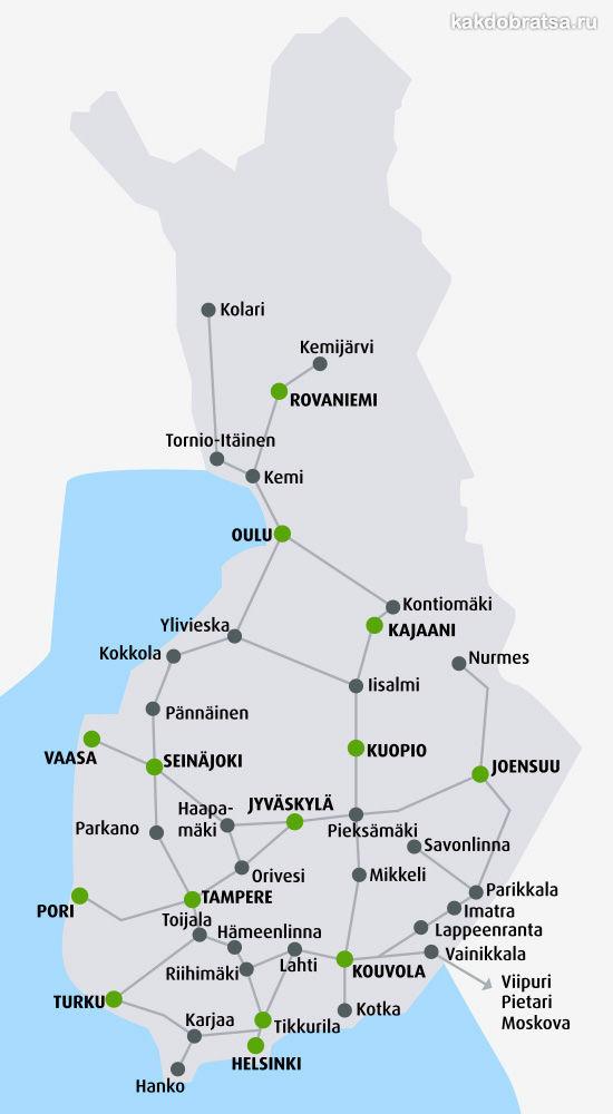 Карта железных дорог Финляндии