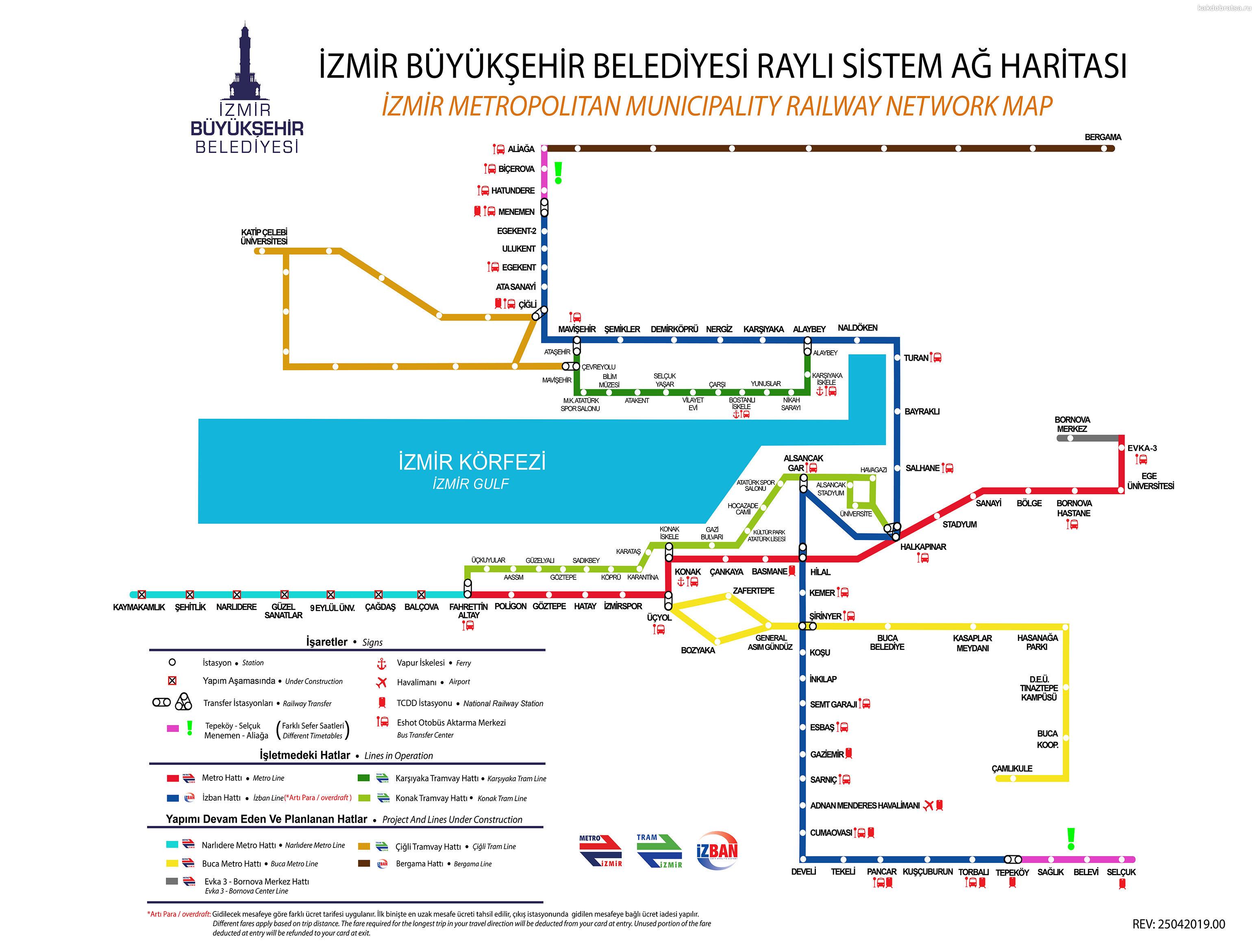 Карта схема метро, трамваев и поездов Измира