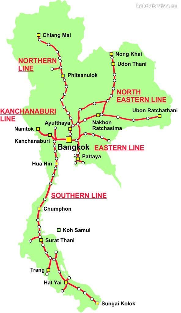 Таиланд карта железных дорог