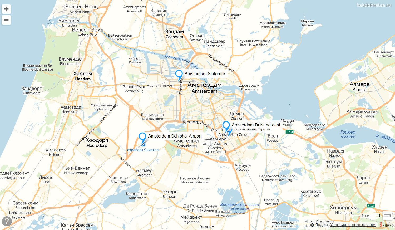 Автовокзалы Амстердама на карте где находятся