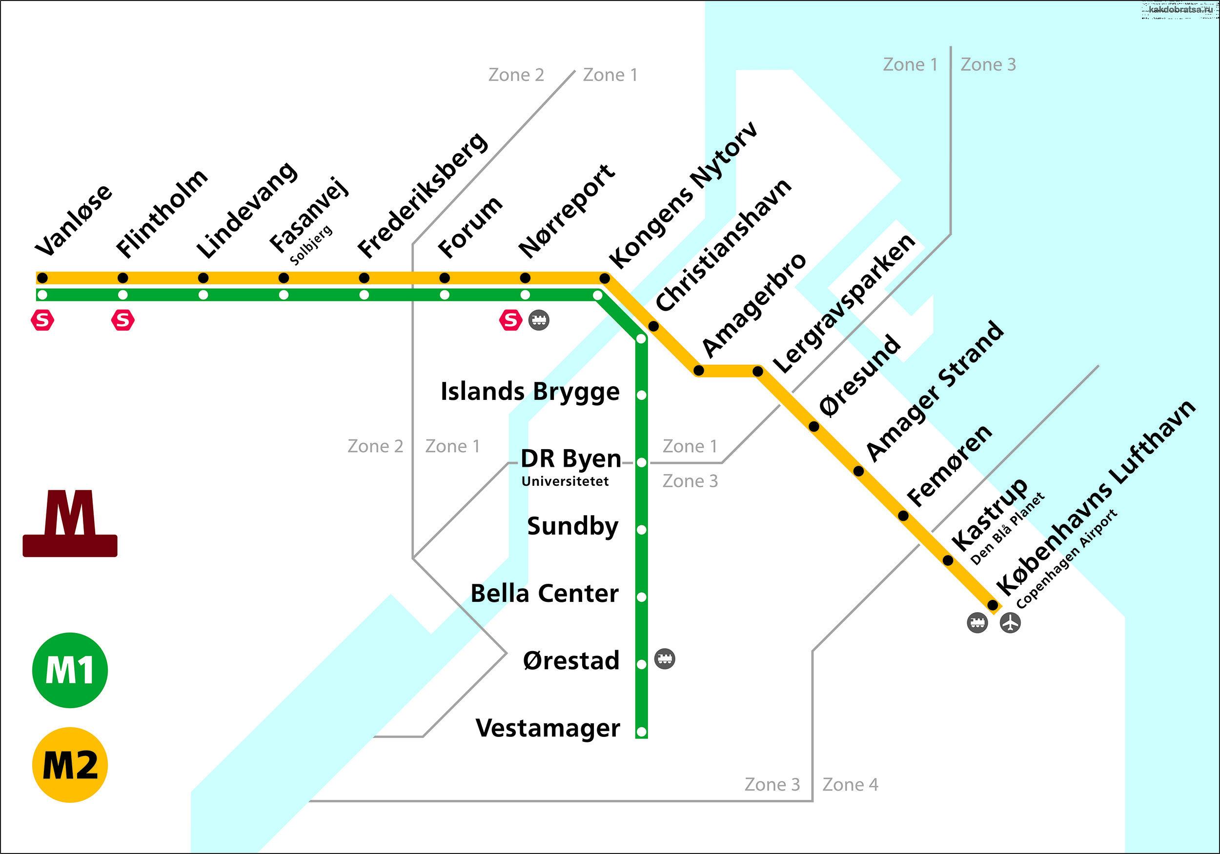 Карта схема метро Копенгагена