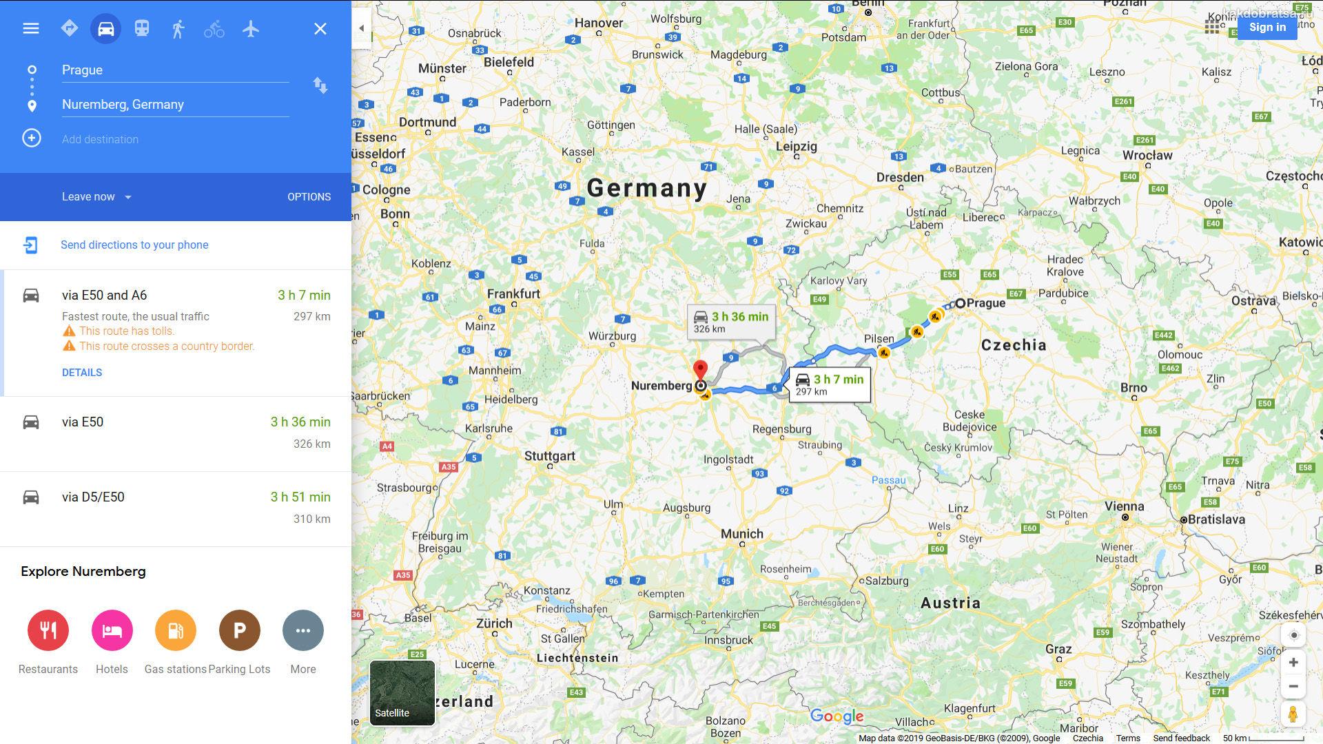 Как добраться из Праги в Нюрнберг карта и время в пути