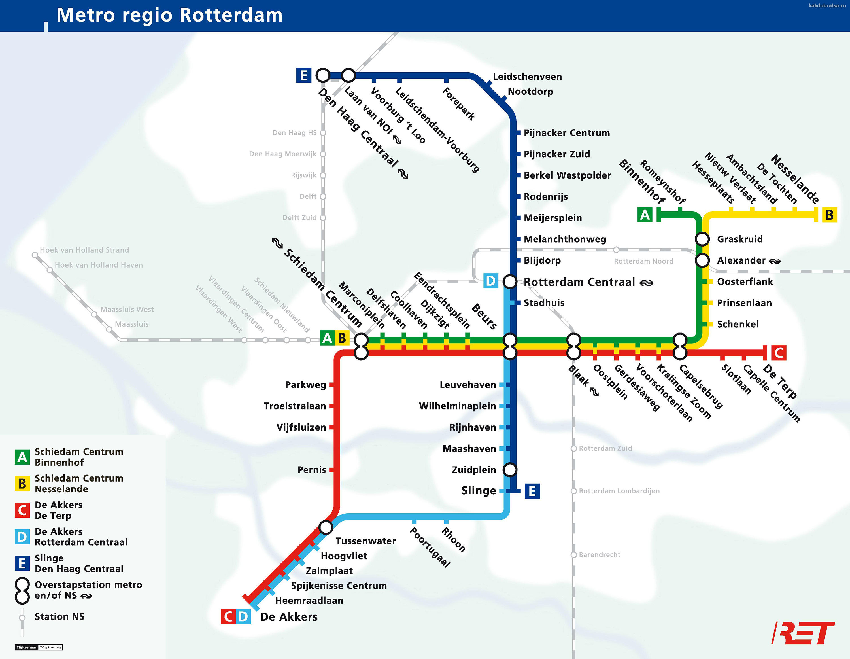 Карта схема метро Роттердама