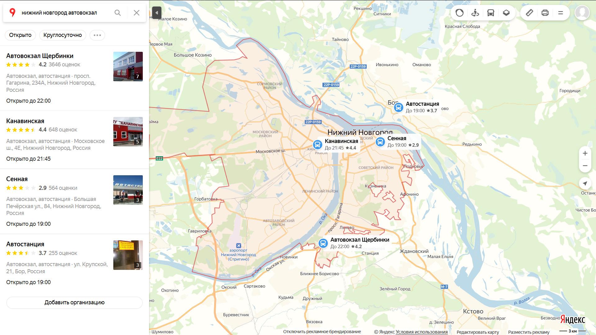 Автовокзалы Нижнего Новгорода на карте