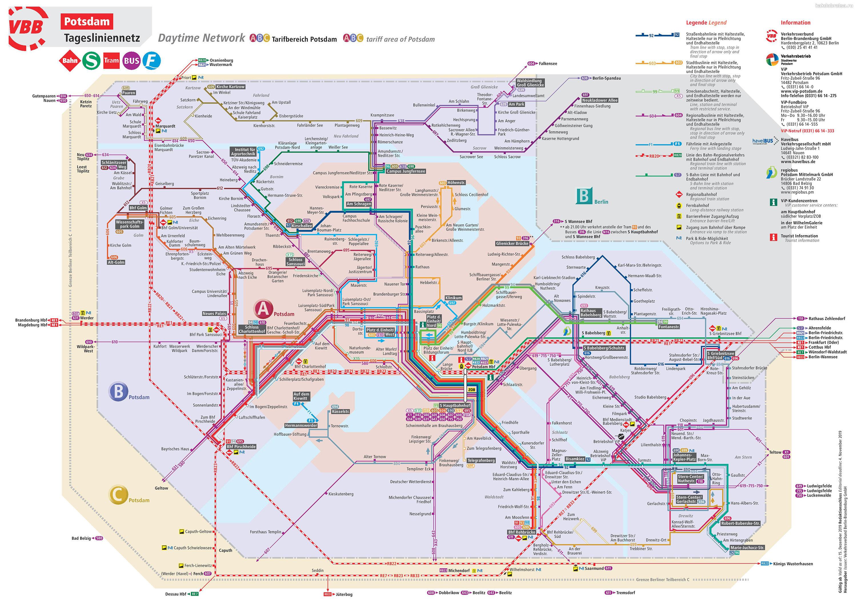 Транспорт в Потсдаме карта трамваев и автобусов
