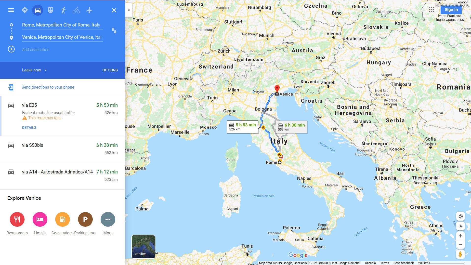 Из Рима в Венецию карта, расстояние и время в пути