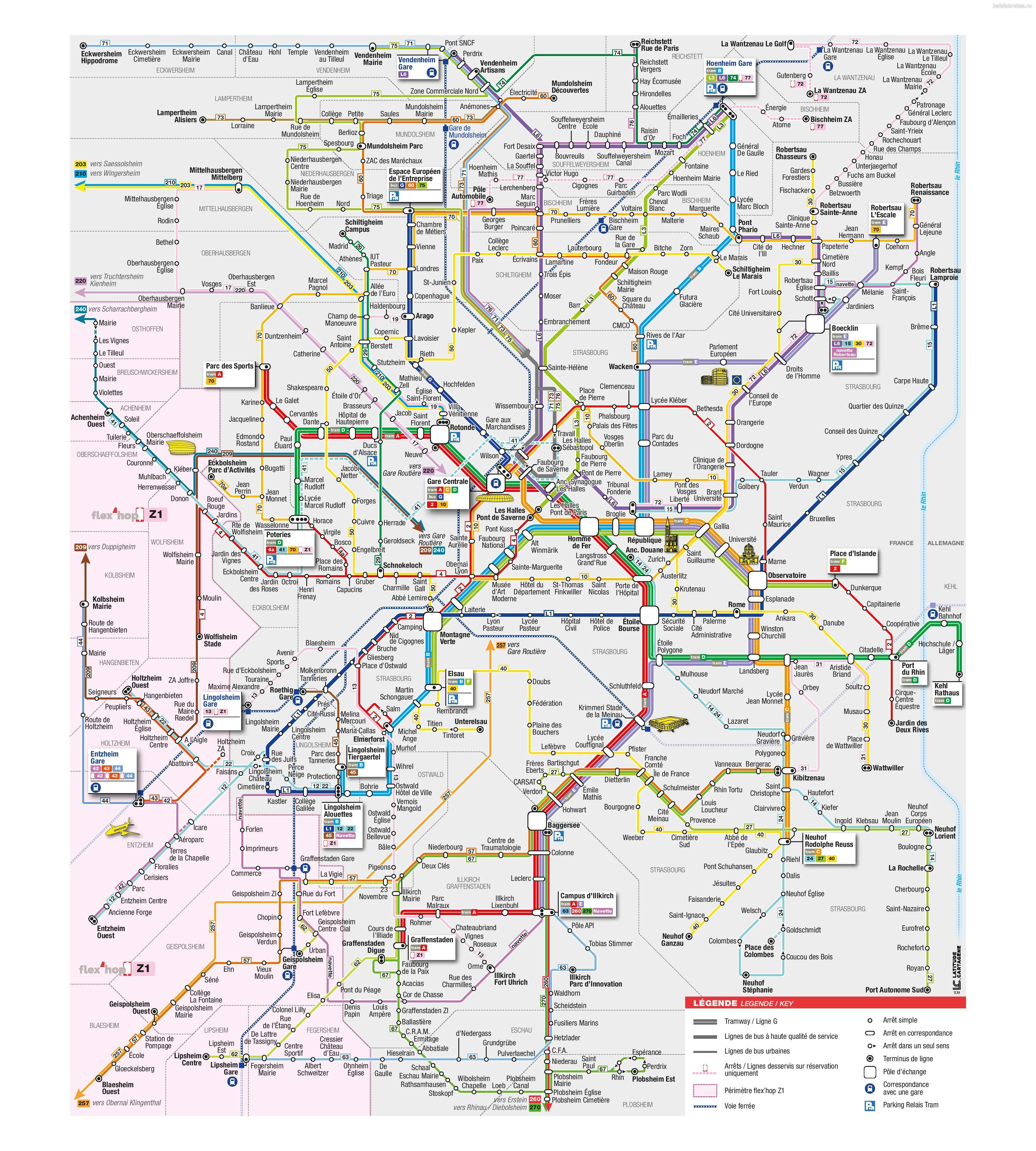 Карта трамваев Страсбурга