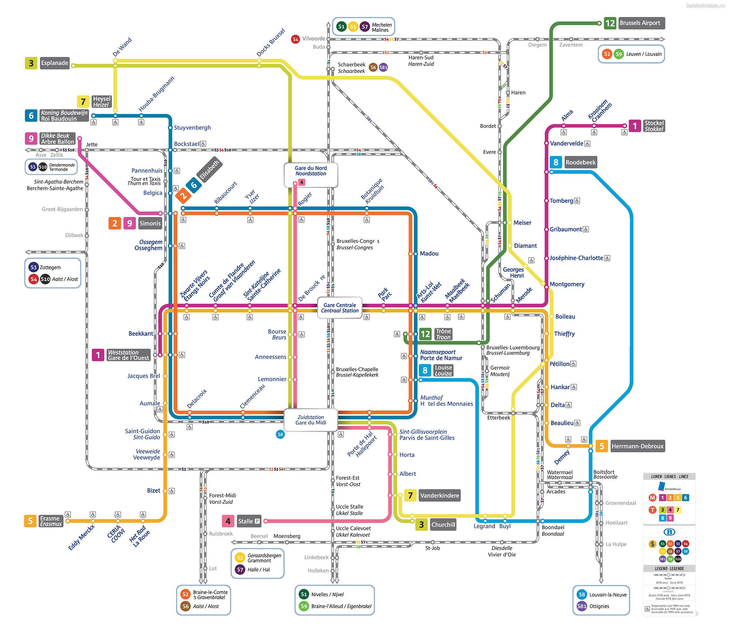 Карта-схема метро Брюсселя