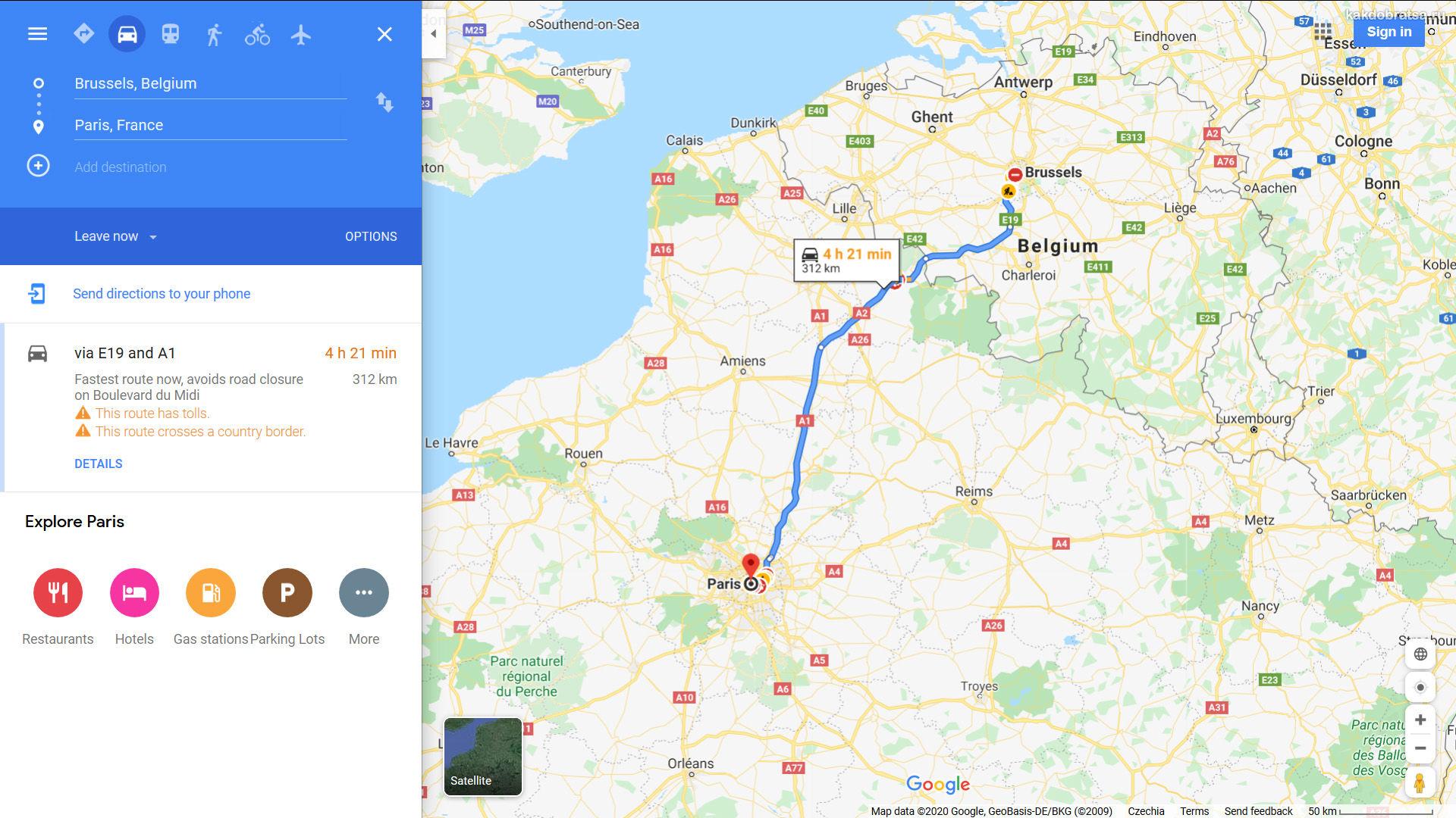 Из Брюсселя в Париж карта, расстояние и время в пути