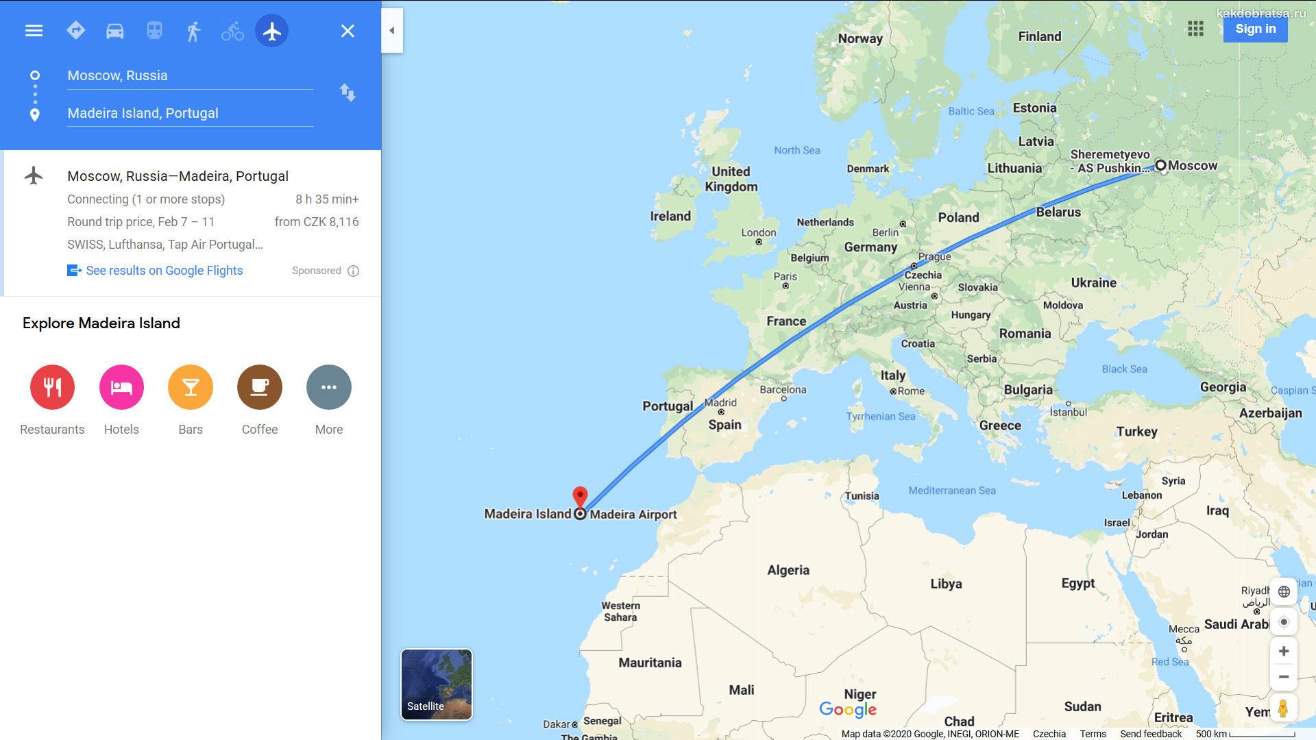Москва Мадейра где находится, карта и расстояние