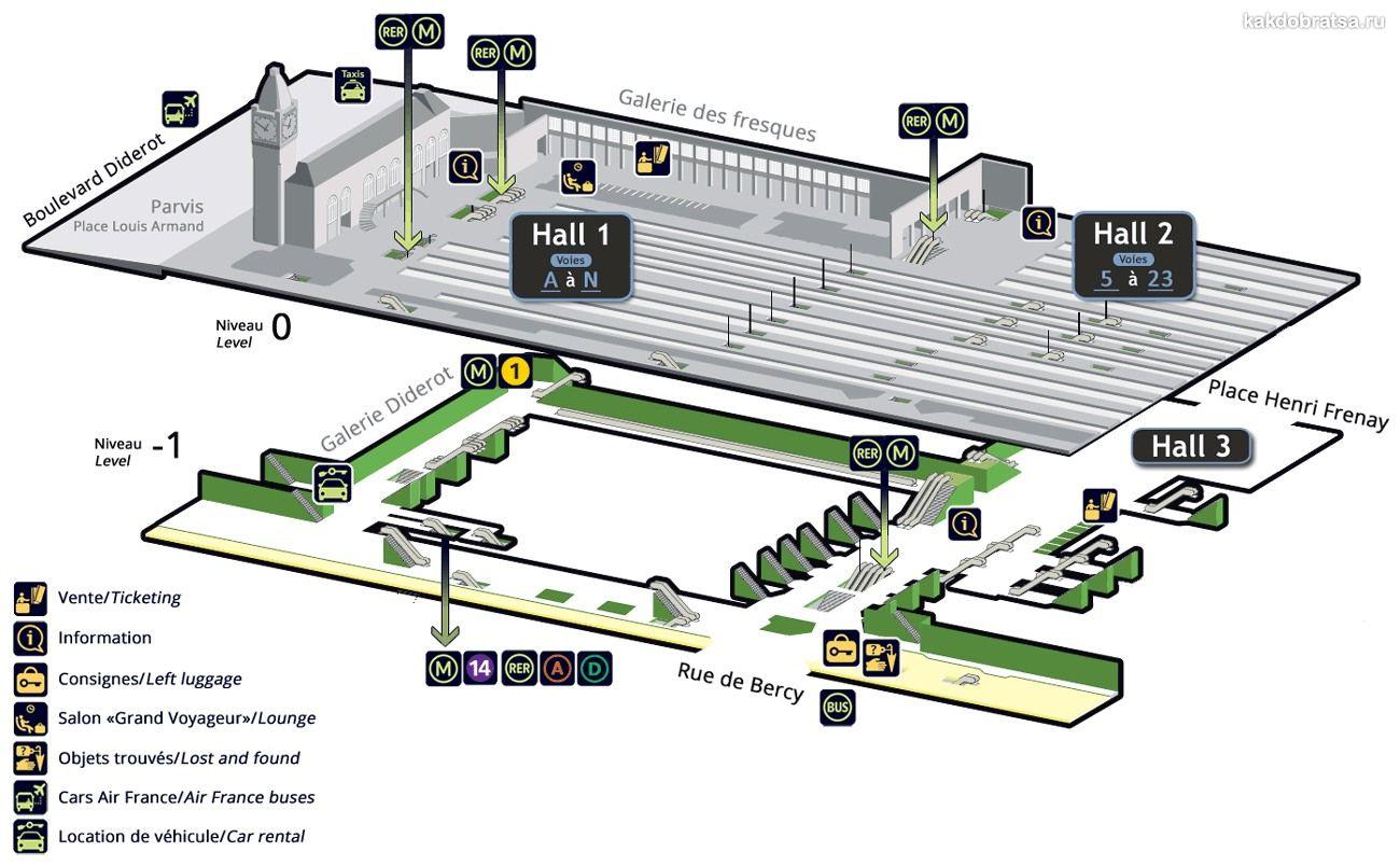 Лионский вокзал в Париже карта схема