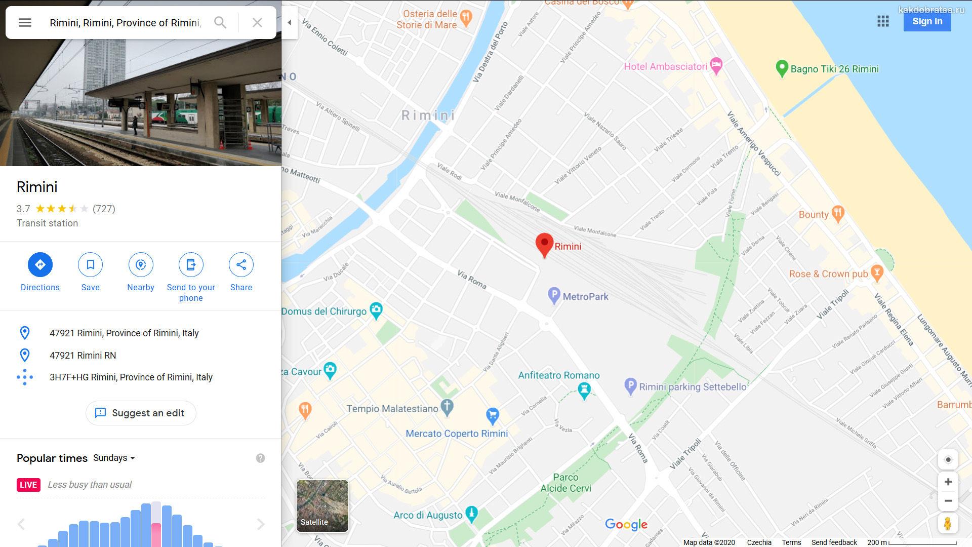 ЖД вокзал Римини на карте