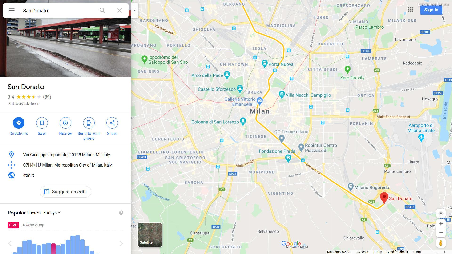 Автовокзал Милана Сан-Донато точка на карте