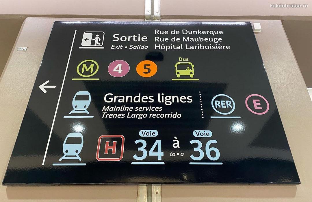 Знаки на вокзале в Париже
