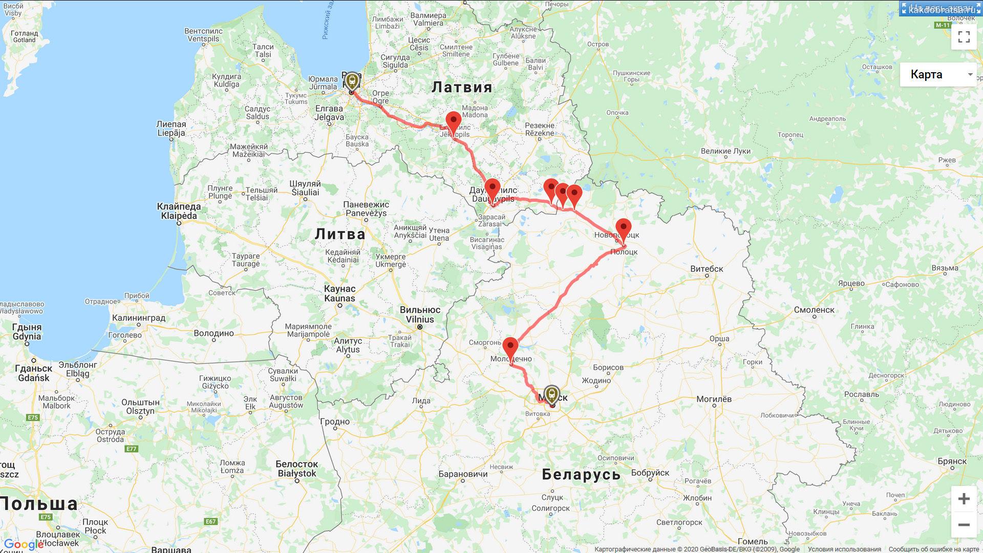 Маршрут поезда из Минска в Ригу