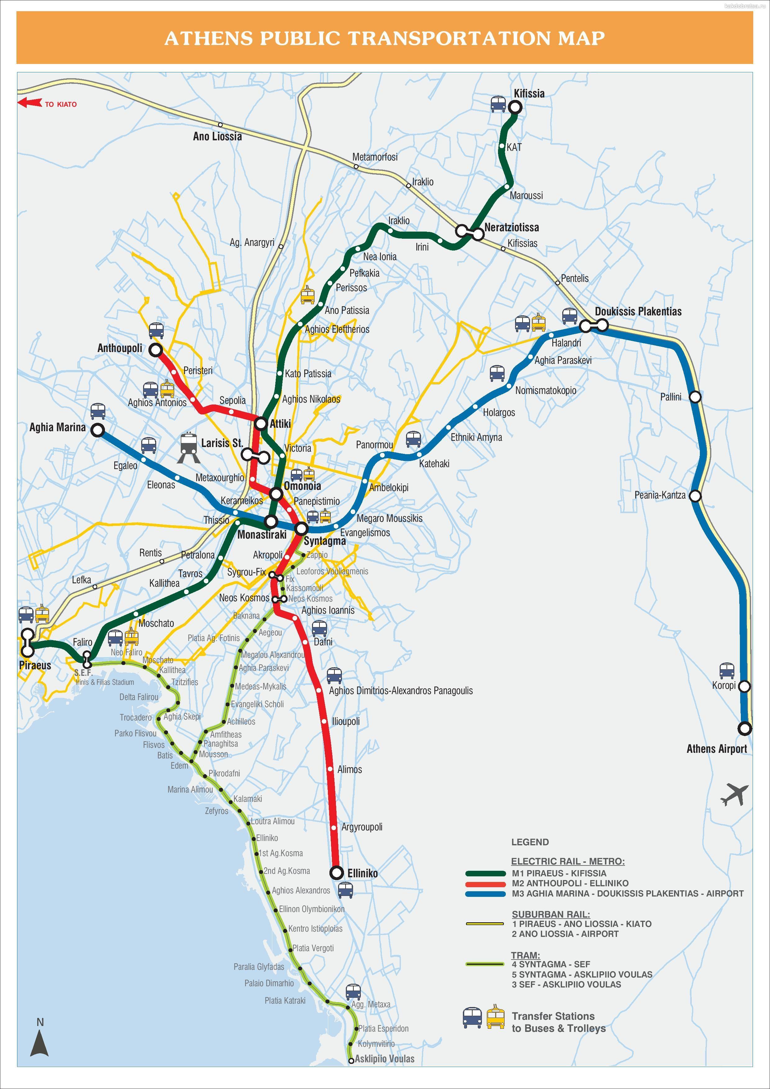 Карта схема метро Афин